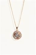 "rose gold one snap necklace with stone 18"" chain"