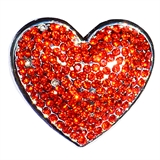 snap heart design orange color stone