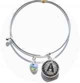 bangle bracelet AB color heart charm