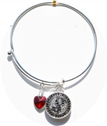 bangle bracelet red heart charm