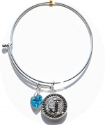 bangle bracelet blue heart charm