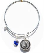 snap bangle bracelet royal blue heart charm