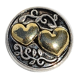 snap gold double heart design